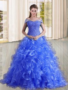 Blue Sleeveless Sweep Train Beading and Lace and Ruffles Quince Ball Gowns