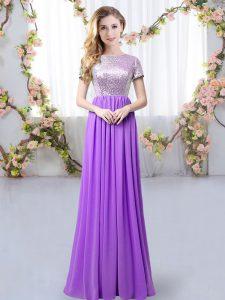 Hot Selling Scoop Short Sleeves Vestidos de Damas Floor Length Sequins Purple Chiffon