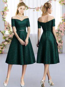 Dark Green A-line Belt Dama Dress Lace Short Sleeves Tea Length