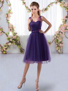 Cheap Purple Tulle Zipper Dama Dress for Quinceanera Sleeveless Knee Length Appliques
