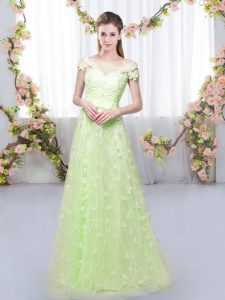 Fashion Yellow Green Cap Sleeves Tulle Lace Up Dama Dress for Quinceanera for Prom and Party and Wedding Party