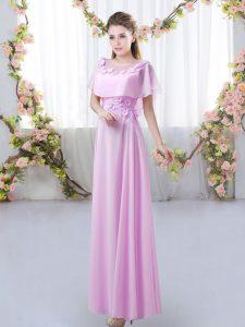 Noble Floor Length Lilac Vestidos de Damas Scoop Short Sleeves Zipper
