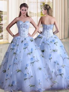 Floor Length Lavender 15th Birthday Dress Sweetheart Sleeveless Lace Up