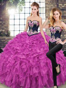 Sweet Sweetheart Sleeveless Sweep Train Lace Up Sweet 16 Dress Fuchsia Organza