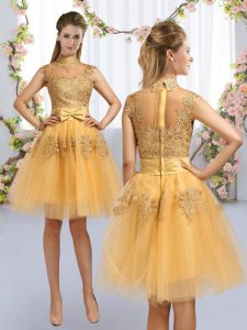 Fashionable Knee Length Gold Quinceanera Court of Honor Dress High-neck Cap Sleeves Zipper