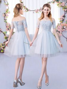 Grey A-line Tulle Off The Shoulder Short Sleeves Lace Mini Length Lace Up Quinceanera Court Dresses