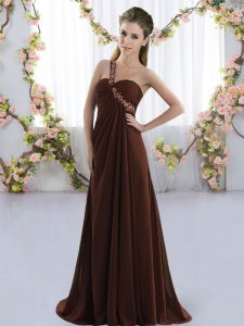 Dynamic Brown One Shoulder Lace Up Beading Quinceanera Dama Dress Brush Train Sleeveless