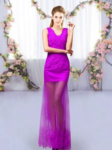 Floor Length Lace Up Damas Dress Purple for Prom and Party and Wedding Party with Lace