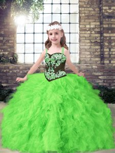 Custom Designed Ball Gowns Kids Pageant Dress Straps Tulle Sleeveless Floor Length Lace Up