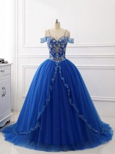 Romantic Royal Blue Ball Gowns Off The Shoulder Sleeveless Tulle Brush Train Lace Up Beading Quinceanera Gown