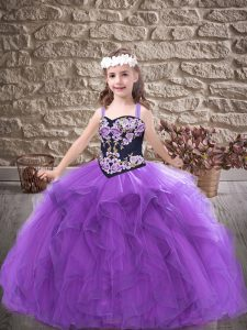 Embroidery and Ruffles Pageant Dress Womens Purple Lace Up Sleeveless Floor Length