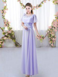 Modest Lavender Empire Appliques Dama Dress for Quinceanera Zipper Chiffon Short Sleeves Floor Length