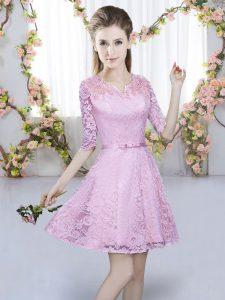 Lilac Lace Zipper Quinceanera Court of Honor Dress Short Sleeves Mini Length Belt