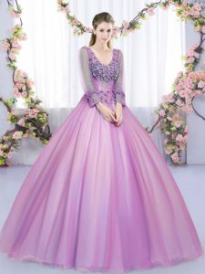Lilac V-neck Neckline Lace and Appliques Sweet 16 Dress Long Sleeves Lace Up