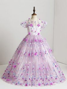 Floor Length Lilac Girls Pageant Dresses Tulle Short Sleeves Hand Made Flower