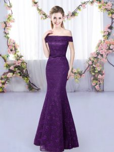 Purple Off The Shoulder Neckline Lace Quinceanera Dama Dress Sleeveless Lace Up
