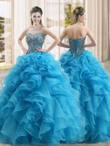 Baby Blue Quinceanera Gown Military Ball and Sweet 16 and Quinceanera with Beading and Ruffles Sweetheart Sleeveless Lace Up