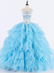Fitting Sleeveless Floor Length Beading and Ruffles Lace Up Sweet 16 Dress with Baby Blue
