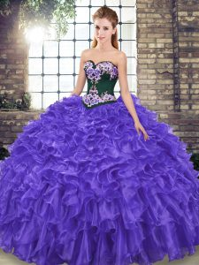 Elegant Purple Sleeveless Embroidery and Ruffles Lace Up Quinceanera Dress