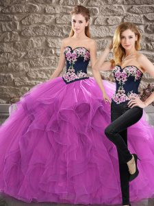 Spectacular Purple Sleeveless Embroidery and Ruffles Lace Up Quinceanera Gown