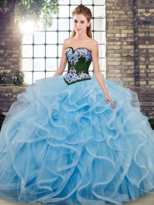Delicate Tulle Sweetheart Sleeveless Sweep Train Lace Up Embroidery Quinceanera Gowns in Baby Blue