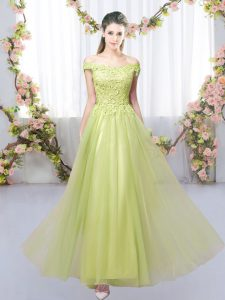 Yellow Green Tulle Lace Up Off The Shoulder Sleeveless Floor Length Quinceanera Court Dresses Lace
