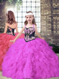 Custom Made Fuchsia Little Girl Pageant Gowns Party and Wedding Party with Embroidery and Ruffles Straps Sleeveless Lace Up