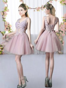 Pink Tulle Lace Up V-neck Sleeveless Mini Length Quinceanera Dama Dress Appliques