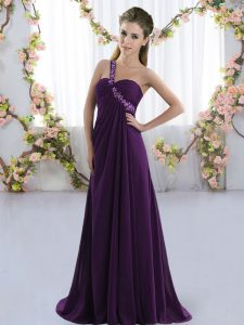 Comfortable Purple Sleeveless Beading Lace Up Court Dresses for Sweet 16