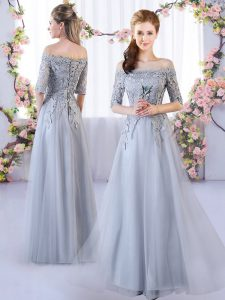 Flirting Grey Empire Tulle Off The Shoulder Half Sleeves Appliques Floor Length Lace Up Dama Dress
