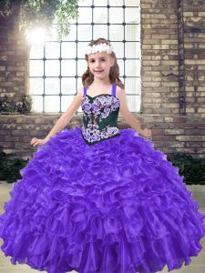 Eye-catching Purple Ball Gowns Embroidery Pageant Dress for Teens Lace Up Organza Sleeveless Floor Length