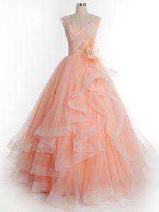 Peach Sleeveless Floor Length Ruffles Lace Up Ball Gown Prom Dress