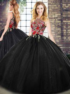Sleeveless Zipper Floor Length Embroidery 15th Birthday Dress