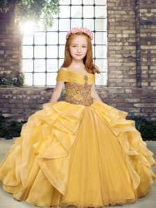 Off The Shoulder Sleeveless Glitz Pageant Dress Floor Length Beading and Ruffles Gold Organza