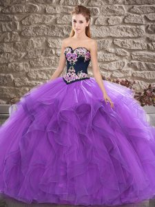 Purple Sweetheart Neckline Beading and Embroidery Sweet 16 Quinceanera Dress Sleeveless Lace Up