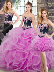 Hot Sale Lilac Quinceanera Gown Tulle Sweep Train Sleeveless Beading and Embroidery and Ruffles