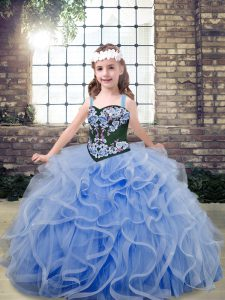 Superior Sleeveless Floor Length Embroidery and Ruffles Lace Up Pageant Dress for Girls with Light Blue