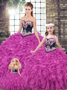 Fuchsia Lace Up Sweetheart Embroidery and Ruffles 15 Quinceanera Dress Organza Sleeveless