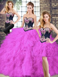 Fuchsia Sleeveless Tulle Lace Up Sweet 16 Quinceanera Dress for Sweet 16 and Quinceanera