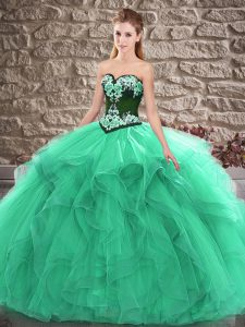 Graceful Sleeveless Lace Up Floor Length Beading and Embroidery Quinceanera Gown