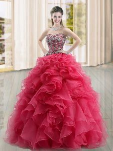 Sweetheart Sleeveless Quinceanera Dress Floor Length Beading and Ruffles Coral Red Organza