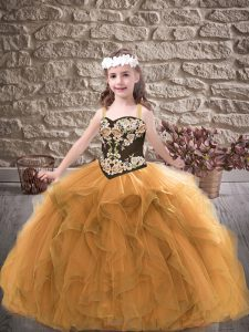 Straps Sleeveless Girls Pageant Dresses Floor Length Embroidery and Ruffles Gold Tulle