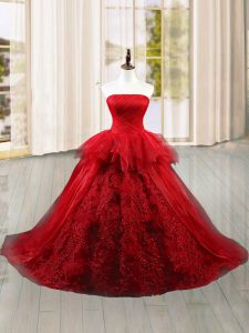 Flare Wine Red Sleeveless Tulle Brush Train Lace Up Quinceanera Gown for Military Ball and Sweet 16 and Quinceanera