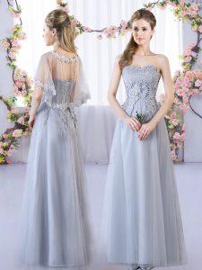 Grey Empire Lace Damas Dress Lace Up Tulle Sleeveless Floor Length