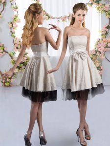 Modest White Sleeveless Knee Length Bowknot Zipper Damas Dress