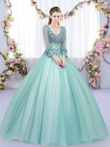 Deluxe Apple Green Tulle Lace Up V-neck Long Sleeves Floor Length Sweet 16 Dress Lace and Appliques