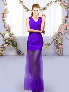 Column/Sheath Quinceanera Court Dresses Purple V-neck Tulle Sleeveless Floor Length Lace Up