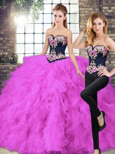 Artistic Fuchsia Tulle Lace Up Quinceanera Dresses Sleeveless Floor Length Beading and Embroidery