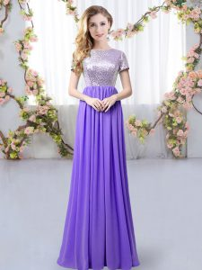 Short Sleeves Floor Length Sequins Zipper Dama Dress with Lavender