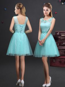 Deluxe Scoop Sleeveless Lace and Appliques and Belt Lace Up Dama Dress